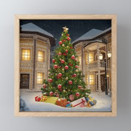 Wonderful big christmas tree with gift boxes in city at christmas night - Merry christmas to you Framed Mini Art Print