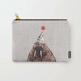 Moody Walrus with Party Hat Carry-All Pouch