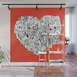Camera Heart - on red Wall Mural