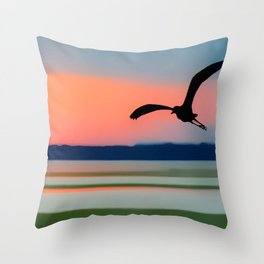 Seagull Sunset Abstract Throw Pillow