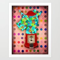 gumball Art Prints featuring Gumball Unicorns by That's So Unicorny