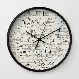 Whimsical map of the national park sites in the Midwest Wall Clock