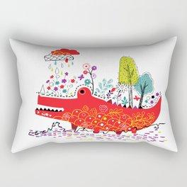 Croco-Nature Illustration Rectangular Pillow