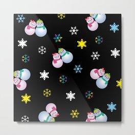 Snowflakes & Pair Snowman_E Metal Print