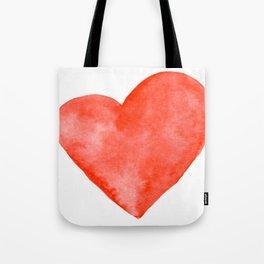 Red Watercolor Heart Tote Bag