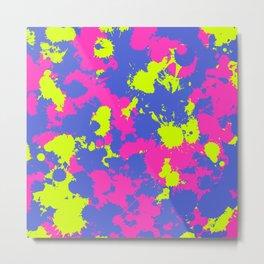 Neon Pink Purple and Green Paint Splatter Metal Print
