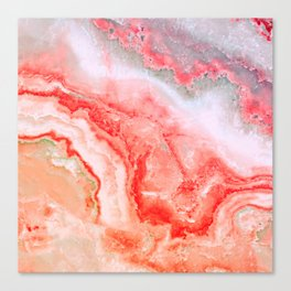 Luxury LIVING CORAL Agate Marble Geode Gem Canvas Print