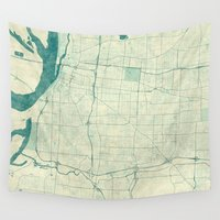 memphis Wall Tapestries featuring Memphis Map Blue Vintage by City Art Posters