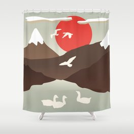 Swan Migration Shower Curtain