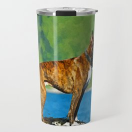 Boxer dog Watercolor Digital Art Travel Mug