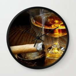 Cigar And Cordial Painting Cigars Wall Clock