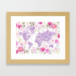Purple watercolor floral world map with cities Framed Art Print
