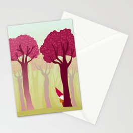 colorful forest with cute dwarf Stationery Cards