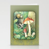 mushrooms Stationery Cards featuring Mushrooms by Natalie Berman