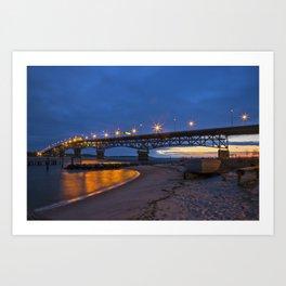 Coleman Bridge At Sunrise Art Print