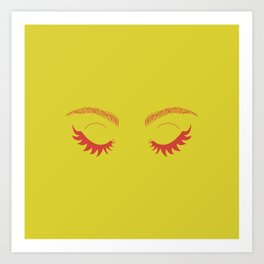 Betty Gone Batty (Red on Chartreuse Edition) Art Print
