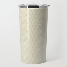 Earthy Green on Pale Beige Parable to 2020 Color of the Year Back to Nature Angled Grid Pattern Travel Mug