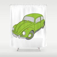 vw Shower Curtains featuring VW Beetle by tuditees