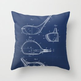 Golf Club Vintage Patent Hand Drawing Throw Pillow