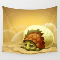 turtle Wall Tapestries featuring turtle by Antracit
