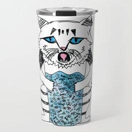 Emotional Cat. Graphic Blue. Travel Mug