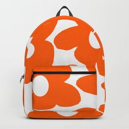 Orange Retro Flowers White Background #decor #society6 #buyart Backpack
