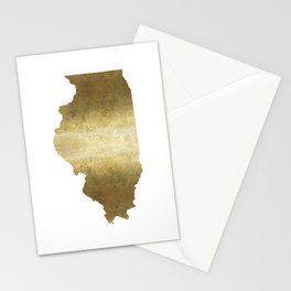 illinois gold foil state map Stationery Cards