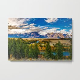 Snake River and Grand Tetons in Winter Metal Print
