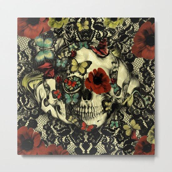 Vintage Gothic Lace Skull Metal Print