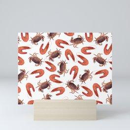 crab shrimps pattern white Mini Art Print