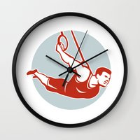 crossfit Wall Clocks featuring Crossfit  Athlete muscle-up Ring Retro by patrimonio