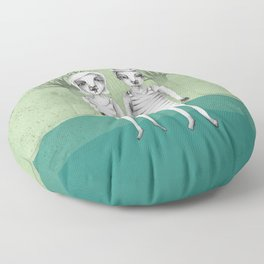 gymnast couple in the forest Floor Pillow