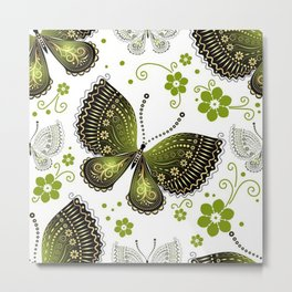 Colorful Butterflies and Flowers V16 Metal Print