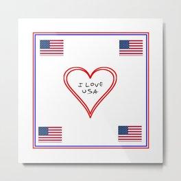 Flag of Usa – I love Usa 7 Metal Print