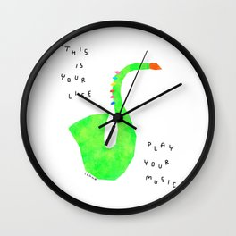 Your Life, Play Your Music - Jazz Band Brass Saxophone Illustration Marching Band Wall Clock