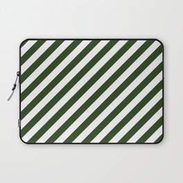 Large Dark Forest Green and White Candy Cane Stripes Laptop Sleeve