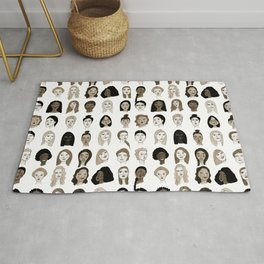 Women faces in sepia palette Rug