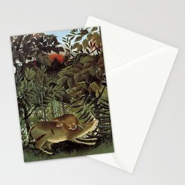 THE HUNGRY LION ATTACKING AN ANTELOPE - ROUSSEAU Stationery Cards