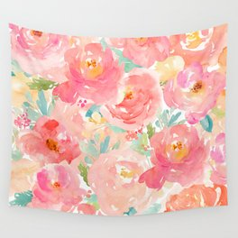 Preppy Pink Peonies Wall Tapestry