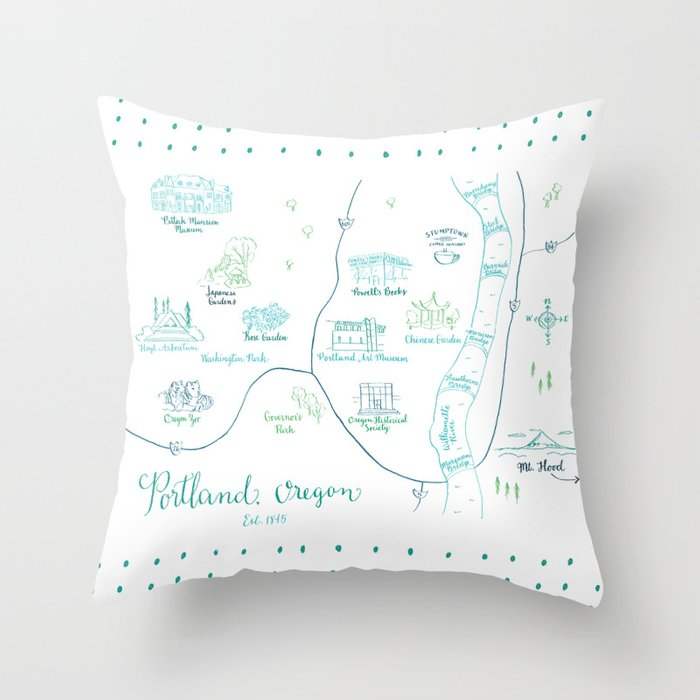 Portland, Oregon Illustrated Calligraphy Map Throw Pillow