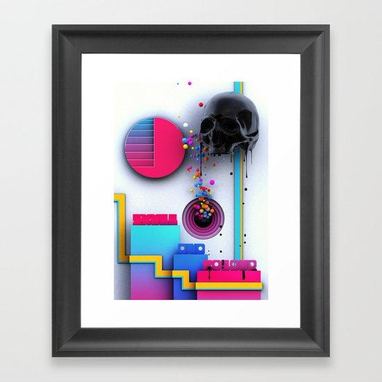 Skull and Colour Framed Art Print