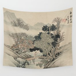 Vintage Japanese Landscape Painting Wall Tapestry