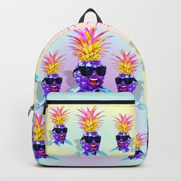 Pineapple Ultraviolet Happy Dude with Sunglasses Backpack