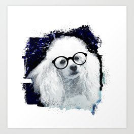 Poodle dog with glasses Art Print