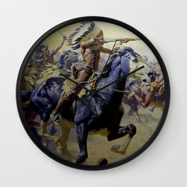 """William Leigh Western Art """"Custer's Last Stand"""" Wall Clock"""