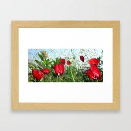 Landscape Close Up Poppies Against Morning Sky Framed Art Print