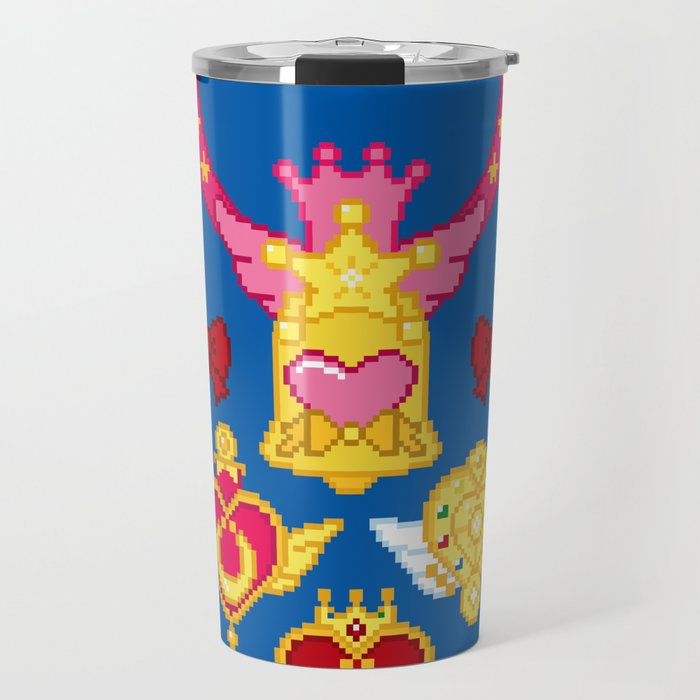 Pixel Moon Brooches Travel Mug