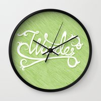 not all who wander Wall Clocks featuring Not All Who Wander... by Christine Fleming