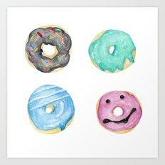 Watercolor donuts Art Print