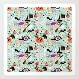 Pug halloween costumes mummy witch vampire pug dog breed pattern by pet friendly Art Print